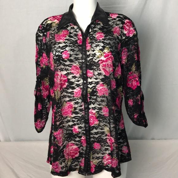 e9949b5107636 BONGO Tops - Bongo Plus Size Lace Blouse with Roses